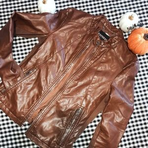 EXPRESS brown leather jacket. Women's Small